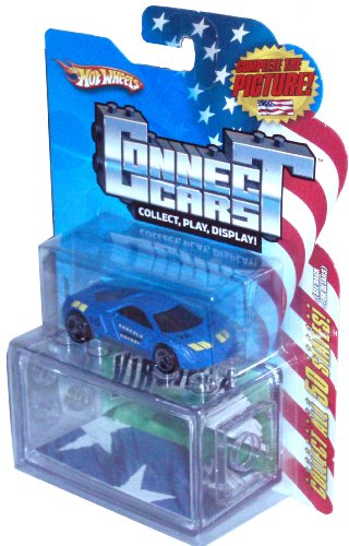 Hot Wheels 2008 Connect Cars Series 1:64 Scale Die Cast Car with Display Case #10 of 50 - Virginia Norfolk Patrol Blue Sport Coupe Cadillac Cien Concept Car - 1
