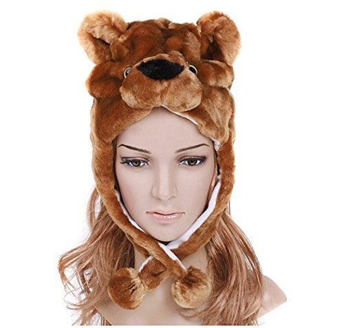 azazel Plush Faux Fur Hat Animal Critter Warm Costume Ear Poms Flaps Scarf (Brown Bear) (Bear Hood With Paw Scarf)