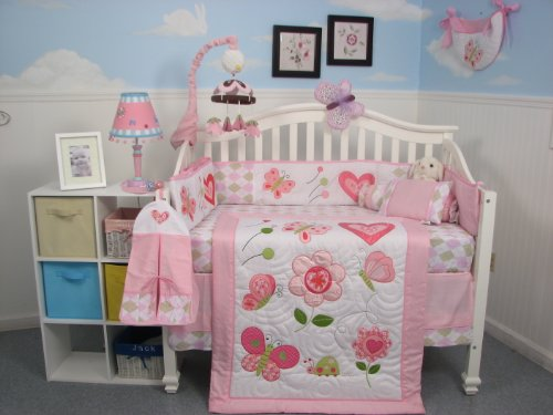 Soho Boutique Butterfly Kisses Baby Crib Nursery Bedding Set 13 Pcs Included Diaper Bag With Changing Pad & Bottle Case front-1045050