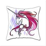 Cotton Linen Throw Pillow, Decorative Pillows.? Pink Unicorn Cotton Linen Square Decorative Throw Pillow Case Cushion Cover 18 x 18 Inch
