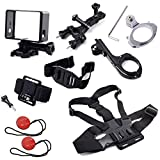 XCSOURCE® 9 in 1 Accessories Set Chest strap + Wrist Strap + Helmet Strap + Protective Frame Set + Helmet Front Mount Set + Handlebar Holder + Aluminum Handlebar Clamp Mount + Insurance Tether with 3M adhesive for Gopro Hero 2 3 3+ Camera OS131