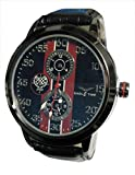 EBI Eagle Time Black Case Luminous Blue Dial Black Leather Watch