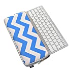 Case Star ® Chevron Series Blue and white Color Quality Neoprene Keyboard Sleeve Case Bag with Dual Zippers for Anker Bluetooth Ultra-Slim Keyboard T300 (Model 98ANSLM78-BTA and 98ANSLM78-WBTA)