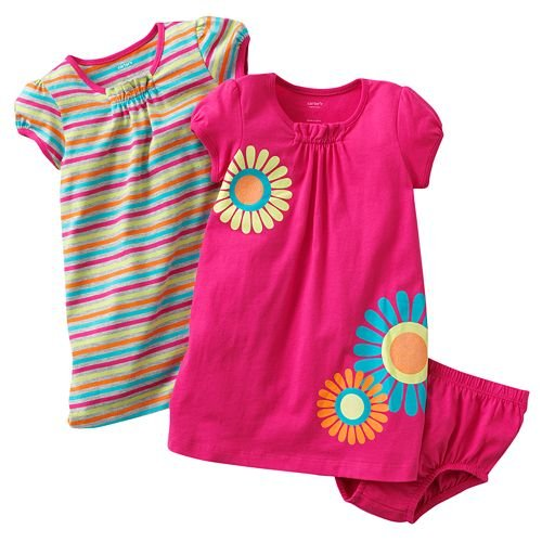 Carters Girls 3-24 Months Floral Striped 2 Pack Dresses (12 Months)