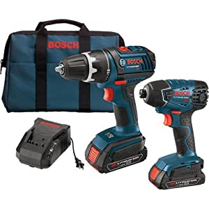 "Bosch CLPK232-181 18V 2-Tool Combo Kit (1/2"" Compact Tough Drill/Driver & Impact Driver w/(2) Slimpack 2.0 Ah Batteries"