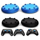Ortz® Analog Thumb Grip Stick Covers for PS4 / Xbox 360 / Xbox One / PS3 / PS2 - Made of Silicone Rubber - Best Caps for Gaming - Remote Skins for Controller - Blue & Black Set (2 Pairs Total)