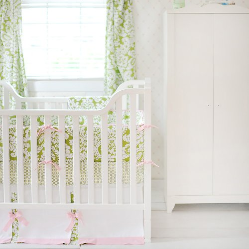 Green Damask Baby Bedding
