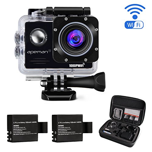 APEMAN-Action-Camera-FHD-1080P-WiFi-Waterproof-Sport-Camera-20-Inch-LCD-Display-170-Ultra-Wide-Angle-Lens-2-Pcs-Rechargeable-1050mAh-Batteries-and-Portable-Package-Include-Full-Accesspries-Kits