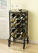 Iron Wine Rack With Glass Top