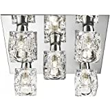 Modern 5 Light Ice Cube Flush Ceiling Light with Chrome Backplate and Halogen Lamps
