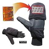 Heat Factory Gloves with Pop-Top Mittens, with Hand Heat Warmer Pockets, Black, Medium
