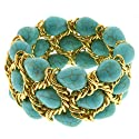 "7"" Triple Strands Turquoise Bead & Gold Color Mesh Loop Stretch Bangle Bracelet"