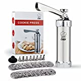 Stainless Steel Cookie Press Kit - Professional Quality - 20 Stainless Steel Discs & 8 Icing Tips - FREE Reusable Piping Bag & Recipes E-Book - For Kids & Adults - 1stChef's Christmas Spritz Dough Gun
