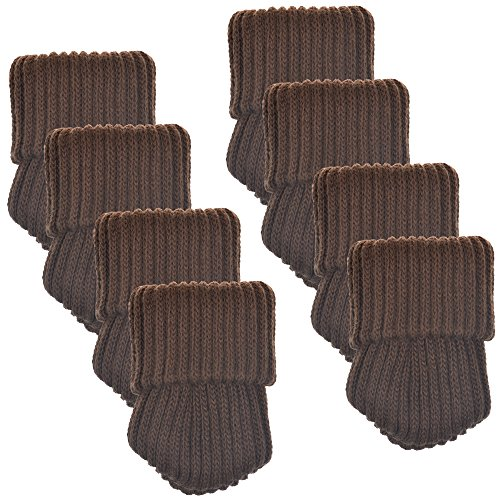 BCP 8pcs Brown Color Knitting Wool Furniture Socks Chair