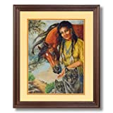 Native American Indian Girl With Wolf Horse # 2 Home Decor Wall Picture Cherry Framed Art Print