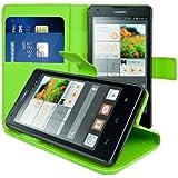 kwmobile® Elegante Wallet Kunstledertasche für das Huawei Ascend G700 mit Magnetverschluss und Ständerfunktion in Grün