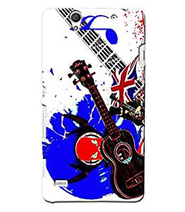 Blue Throat Guitar Pattern Hard Plastic Printed Back Cover/Case For Sony Xperia C4