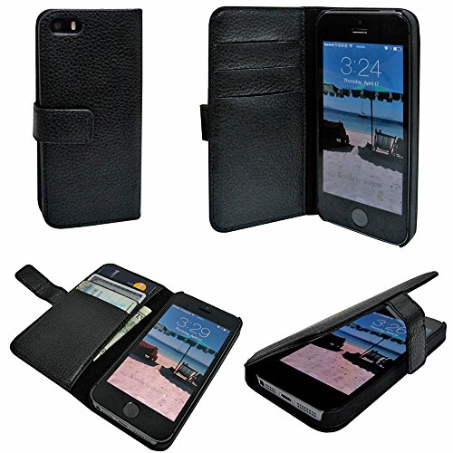 Mylife Midnight Black - Classic Design - Textured Koskin Faux Leather (Card And Id Holder + Magnetic Detachable Closing) Slim Wallet For Iphone 5/5S (5G) 5Th Generation Smartphone By Apple (External Rugged Synthetic Leather With Magnetic Clip + Internal S