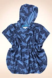 Cotton Rich Hooded Towel Shark Print Poncho Top [T88-0549L-Z]