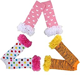 Joyci 3-pair Infant Baby Kids Sweet Socks Ruffles Toddler Arm Leg Warmer (AF)