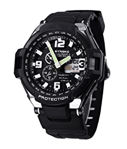 Felix Men's Sport Watch Analogue Digital Black Dial Black Silicone Strap Swimming Watch 2 Time Zone SNK67607WB