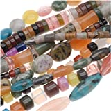 Gemstone Bead Lot Mix #11 Assorted Shapes, Sizes, Colors 70 Inches Total