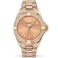 Seksy Rose Gold Stainless Steel Crystalised Bracelet Watch