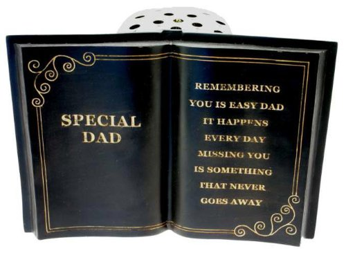 In loving Memory Special Dad Black Grave Book and Verse with Gold Lid Flower Vase Pot Memorial Plaque Graveside Ornament Fathers Day