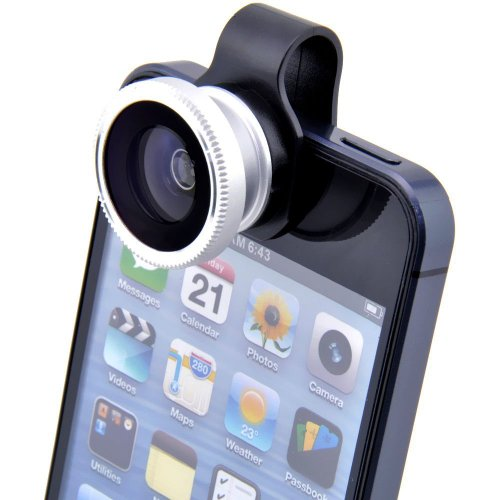Shopping_Shop2000 3-In-1 Universal Clip 180 Degree Fish Eye Lens + Wide Angle + Micro Lens Kit For Iphone 4 4S 4G 5 5G 5S 5C Samsung Galaxy S3 I9300 S4 I9500 S5 I9600 Note 3 N9000 Lg Blackberry Motorola Sony Cell Phone (Silver)