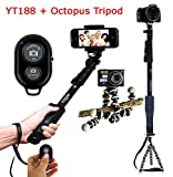 Everything Imported Yunteng Selfie Stick YT188 With Octopus Tripod and Remote Shutter (Yunteng YT188 With Octopus Tripod and Bluetooth Remote)