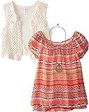 Beautees Big Girls Short Sleeve Top with Crochet Vest
