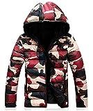(サンクタス)SANCTUS メンズ 赤迷彩 中綿 パーカー マウンテンパーカ ジャケット スノー ジャケット ウインドブレーカー 防寒 コート (02赤迷彩3XL)