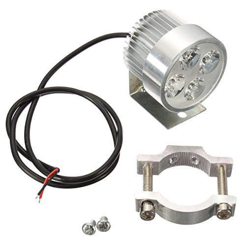 AUDEW Universal LED Moto Phares Avant Lampe Spotlight Argent 12V 1000LM 6500K