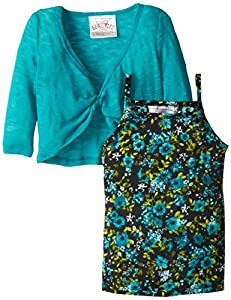 Beautees Little Girls' 2 Piece Shrug Over Ditzy Print Tank, Emerald, 4