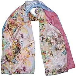 Silky-Luxury designer-Sciarpa da donna in simil chiffon, Extra large, motivo: fiore di montagna