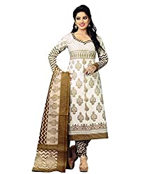 Divisha Fashion Womens Cotton Unstitched Salwar Suit Dress Material (Dfsgp710 _White _Xx-Large)