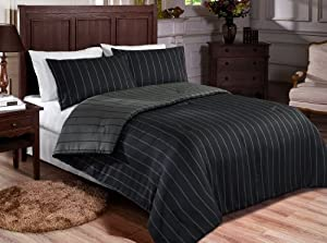 chezmoi collection como 3 piece high end reversible woven stripe comforter set. Black Bedroom Furniture Sets. Home Design Ideas