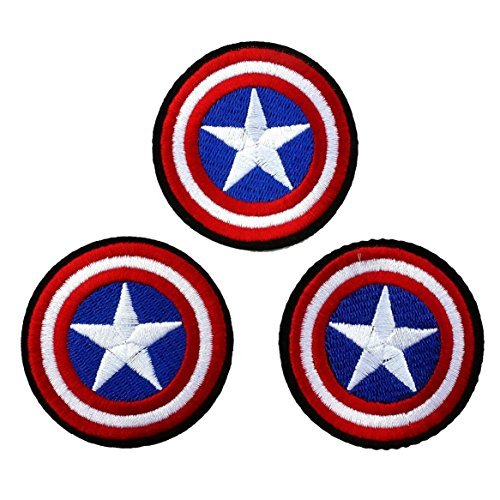 Lot of 3 Pieces, Captain America Shield Iron on Patch Logo Fabric Applique Cartoon (Captain America Logo Iron On compare prices)