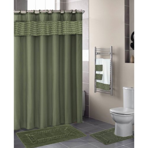 Green Sage FLORAL RIBBON 18-Piece Bathroom Set: 2-Rugs/Mats, 1-Fabric Shower Curtain, 12-Fabric Covered Rings, 3-Pc. Decorative Towel Set