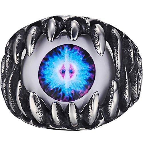 VALYRIA ジュエリー ファッション アクセサリー メンズ リング 指輪, バイカーズ ゴシック トライバル クロー 悪魔 目 アイ, ステンレス, カラー:ブルー; シルバー(銀);[ギフトバッグを提供] - [21号]
