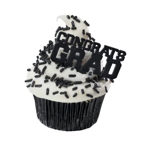 Congrats Grad BLACK Cupcake Topper Picks - Set of 12