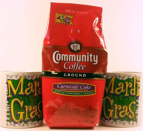 Mardi Gras 3 Item Bundle – 2 Party City Mardi Gras Coffee Mug and 1 Community Coffee 12 Oz. Ground Carnivale Cake