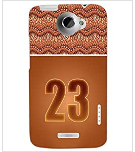 PrintDhaba Numerology Number 23 D-3658 Back Case Cover for HTC ONE X (Multi-Coloured)