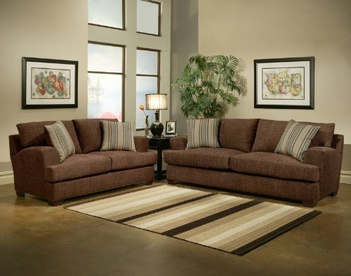 Buy Low Price Benchley 2pc Sofa Loveseat Set Contemporary Striped Accent Pillows in Chocolate (VF_BCL-TUSCANY)