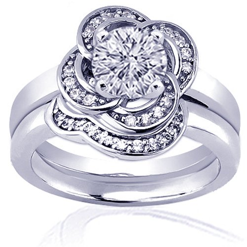 1.20 Ct Round Flower Halo Diamond Engagement