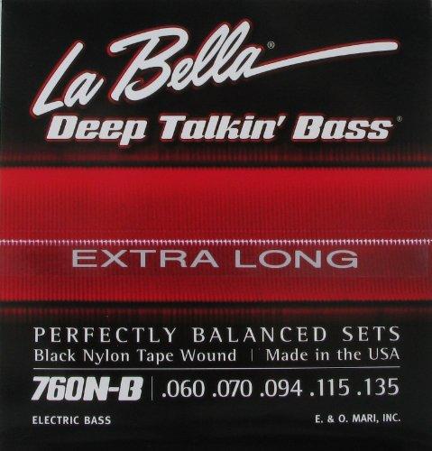 La Bella Electric Bass Guitar 5 String Low B Extra Long, .060 - .135, Black Nylon Tape Wound, 760N5