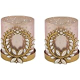 Orlando's Décor Jasmine And Tuberose Candle In Pink And Gold Broach Holder By Resonance Festivity Set Of Two