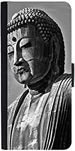 Snoogg Buddha Statue Graphic Snap On Hard Back Leather + Pc Flip Cover Samsun...