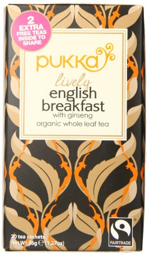 Pukka Organic Tea, Lively English Breakfast, 20 Count (Pack Of 6)