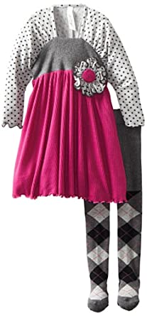 Love U Lots Little Girls' 2 Piece Sweater Shirred Sleeve Dress Set, Fuchsia, 2T